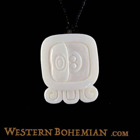 Bone Jewelry | Muluc. Mayan Glyph. Bone Necklace. Carved Jewelry.
