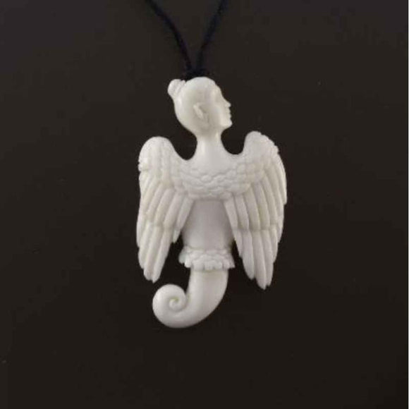 Sale and Clearance | Celestial Seraphim. Bone Necklace. Carved Jewelry.