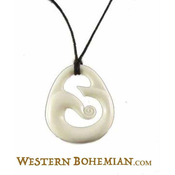 Natural Hawaiian Bone Jewelry | Wind. Bone Necklace. Carved Jewelry.