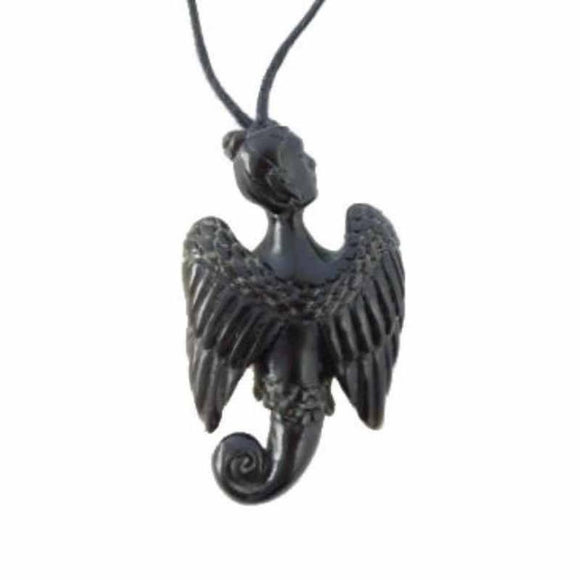 Sale and Clearance | Celestial Seraphim. Horn Necklace. Carved Jewelry.
