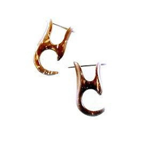 Coconut Gauges | Coconut Shell Earrings,  1/2 inches W x 1 inches L.