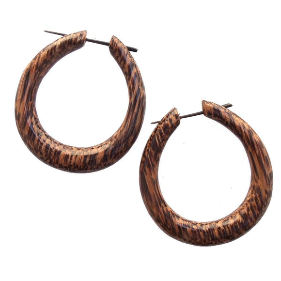 Mana Hoop. Dark Wood Hoop Earrings. Coconut Jewelry.
