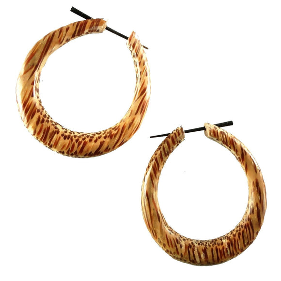 Coconut Gauges | Mana Hoop. light Wood Hoop Earrings. Coconut Jewelry.