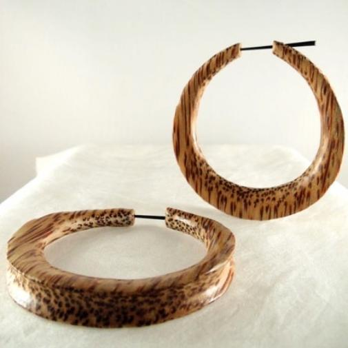 Coconut Gauges | Jupiter Hoop. Extra Large, Coconut Wood. 2 5/8