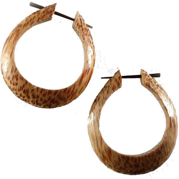 Coconut Gauges | Medium Large Angular Hoops. Coconut Wood Earrings.