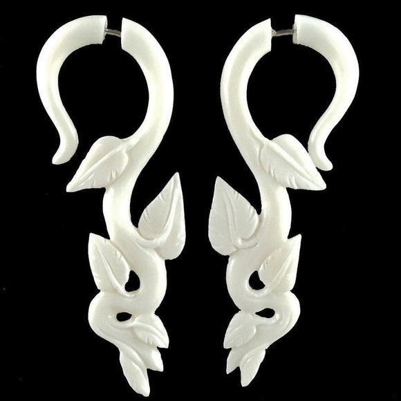Fake Gauges | Ivy. Dangle earrings. White Fake Gauges. Bone Tribal Jewelry.