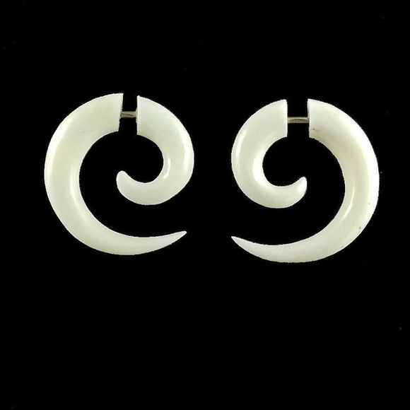 Hoop Earrings | Maori Spiral of Life. Fake Gauges. Bone Jewelry.