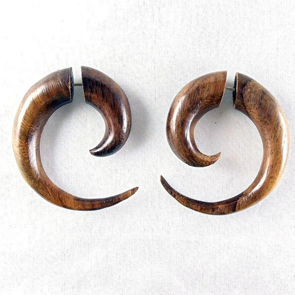 Hoop Earrings | Maori Spiral of Life. Fake Gauges. Natural Sono, Wood Jewelry.