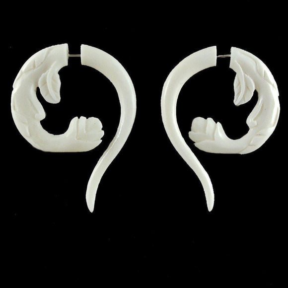Natural Bone Jewelry | Spring Blossom. Fake Gauges. Bone Jewelry.