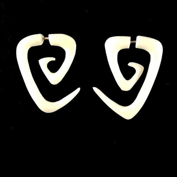 Bone Fake Gauges | Maori Triangle Spiral tribal earrings. Bone Jewelry.