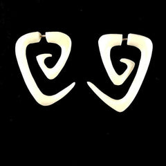 Triangle Spiral Earrings | Maori Triangle Spiral tribal earrings. Bone Jewelry.