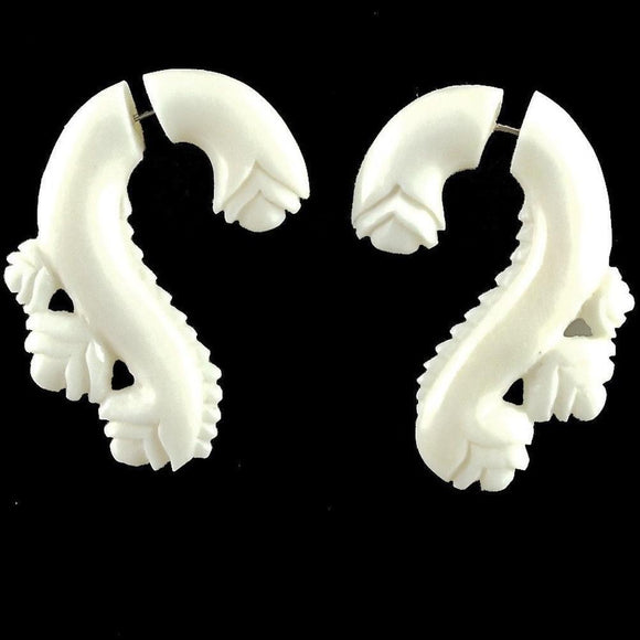 Tribal Earrings | Evolving Vine, white. Fake Gauges Earrings. Bone.
