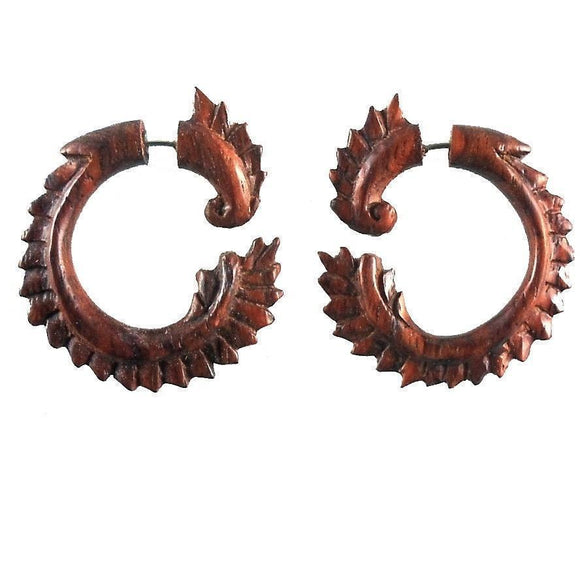 For her : Gauges | Dragon Tail. Fake Gauges. Natural Sono, Wood Jewelry.