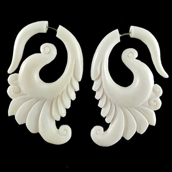 Tribal Earrings | Dove Blossom. Bone Fake Gauge Earrings