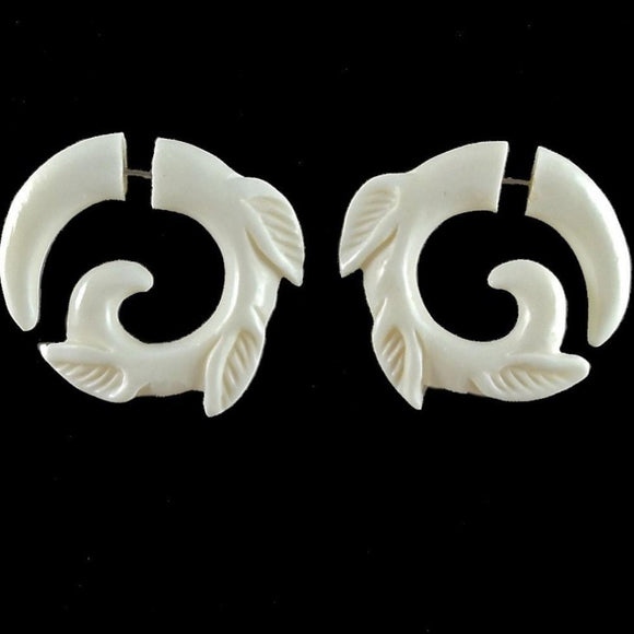 Spiral Tribal Earrings | Leaf Spiral, fake gauge tribal earrings. Bone Jewelry.