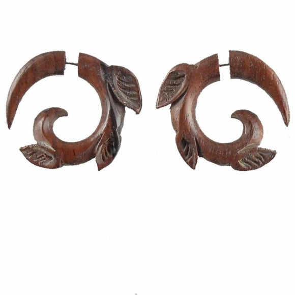 Wood Faux Gauges | Leaf Spiral, Sono. Tribal Earrings. Fake Gauge jewelry.