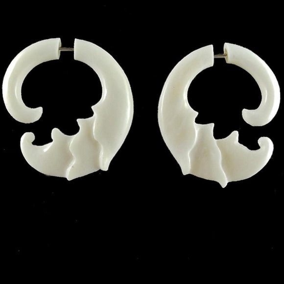 Natural Hawaiian Bone Jewelry | Ginger Flower, white. Fake Gauges. Bone Jewelry.