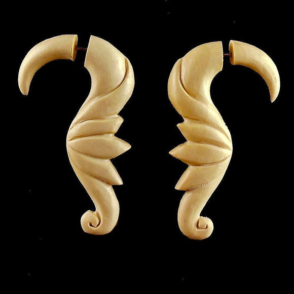 Wood Fake Gauge Earrings | Soaring Birds, wood. Faux Gauges. Tribal Earrings.