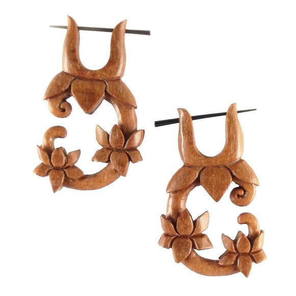 Wood Jewelry | Lotus Vine, Wood. Hanging Earrings. Boho Jewelry.