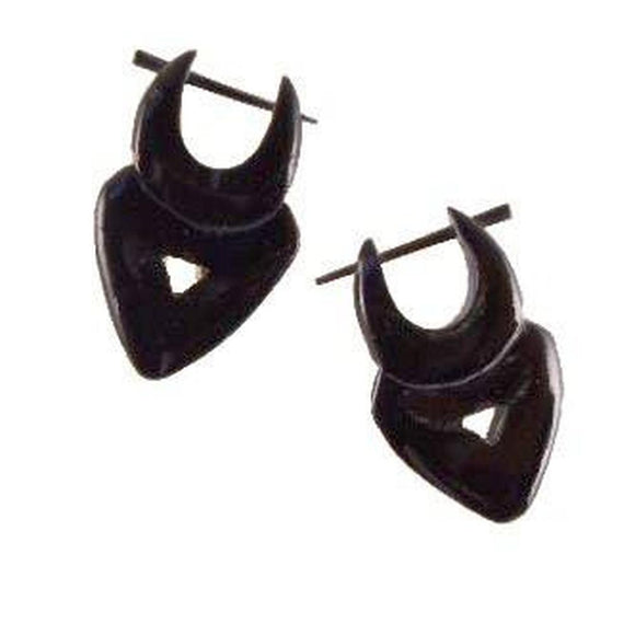 Sale and Clearance | Water Buffalo Horn Earrings,  3/4 inches W x 1 1/8 inches L.