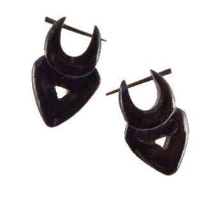 Horn Jewelry | Heart Drop. (seconds) Black Horn Earrings.