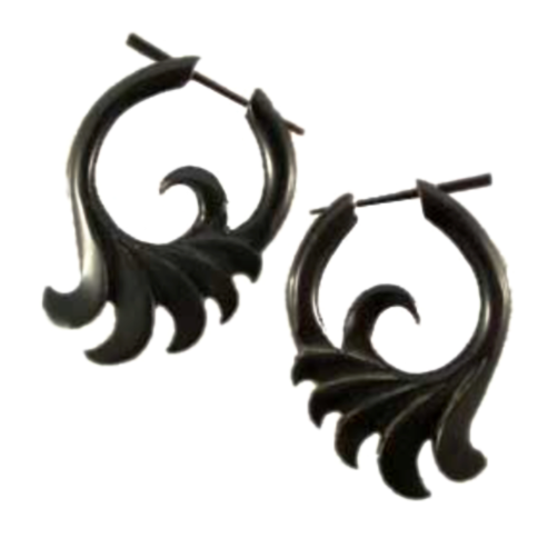 Buffalo horn Earrings | Defects. Ocean Wings. Black Jewelry. Horn Jewelry.  WARPED