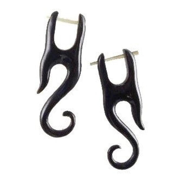 Spiral Organic Earrings | Yogi. Tribal Black Earrings, Horn Jewelry.