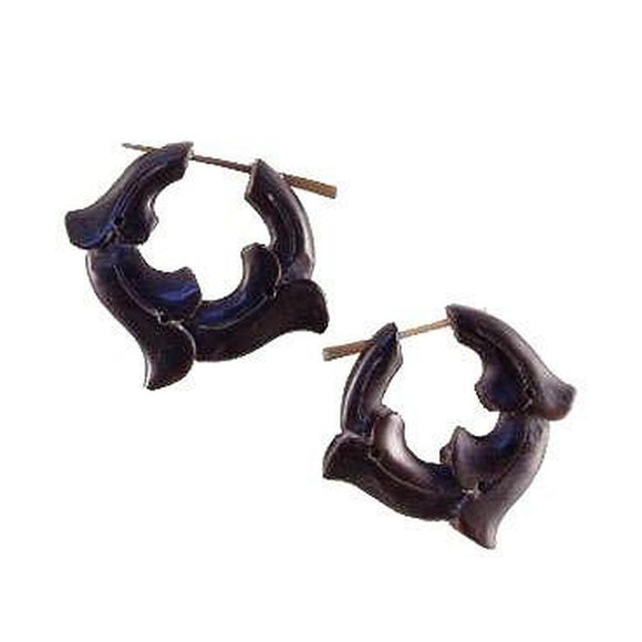 Handmade Horn Earrings | Vine Hoops, Black Hoop Earrings, Horn Jewelry.