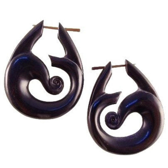 Spiral Horn Earrings | Tribal Island Wind. Handmade Earrings, Horn Jewelry.