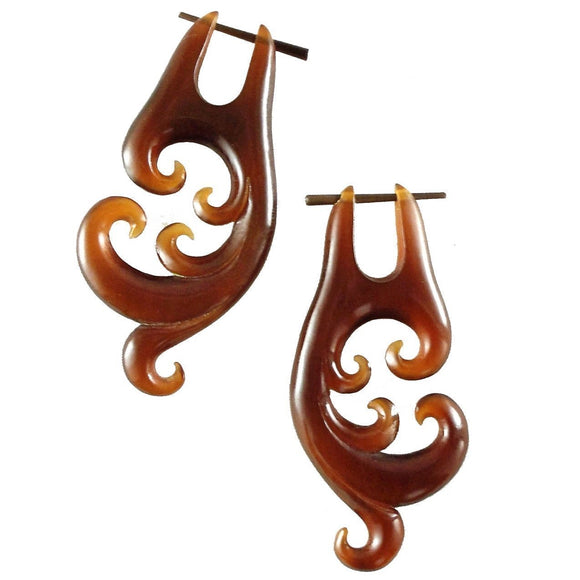 Horn Jewelry | Spectral Swirl. Amber Horn Earrings.
