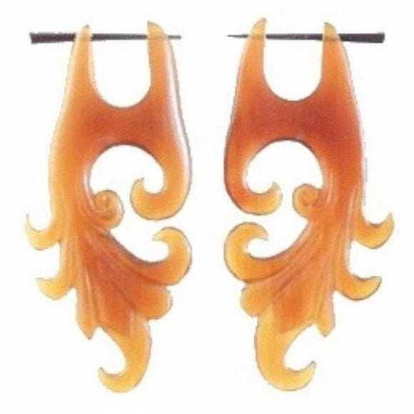 Horn Earrings | Dragon Vine, amber horn. Tribal Earrings.