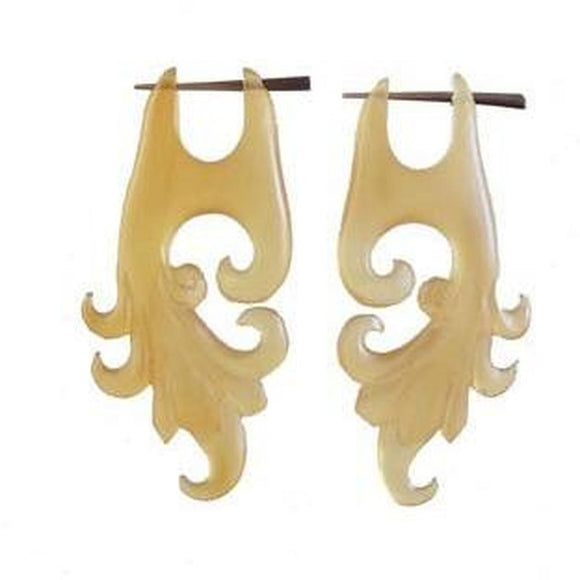 Handmade Horn Earrings | Dragon Vine. Light Amber Horn Earrings.