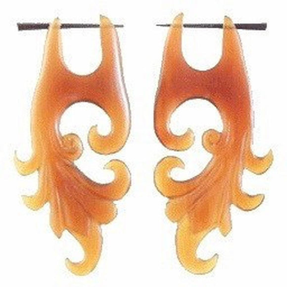 Spiral Tribal Earrings | Dragon Vine. Amber Horn Earrings.