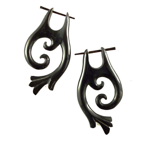 Spiral Tribal Earrings | Falcon Vine. Tribal Earrings, Black Jewelry.