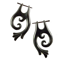 Spiral  Horn Earrings | Falcon Vine. Tribal Earrings, Black Jewelry.