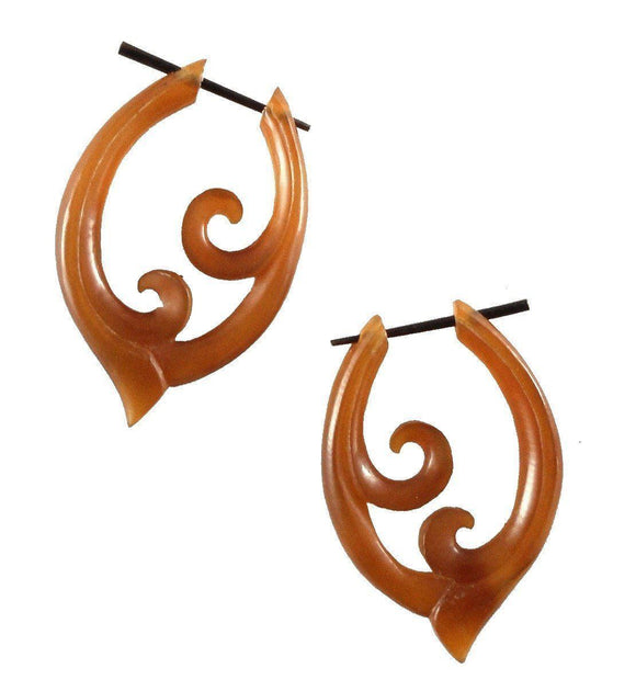 Spiral Organic Earrings | Pura Vida. Amber Horn Earrings.