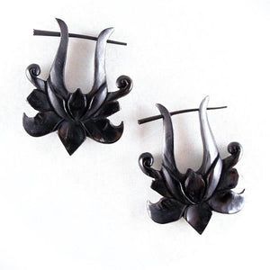 Horn Jewelry | Lotus Rose. Tribal Earrings, Black Jewelry.