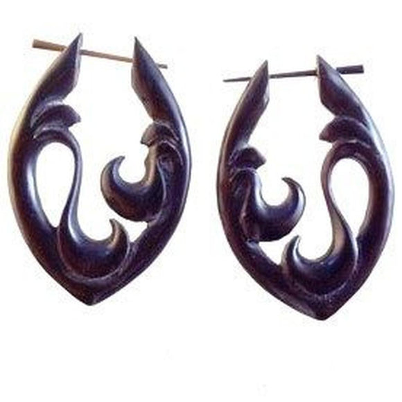Spiral Organic Earrings | Water. Tribal Earrings, Black Jewelry.