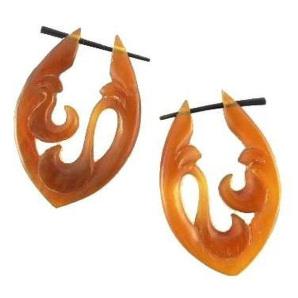 Natural Jewelry | Water. Amber Horn Earrings. 1 1/8