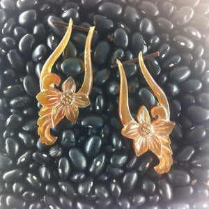 Horn Jewelry | Venus Orchid. Amber Horn Earrings.