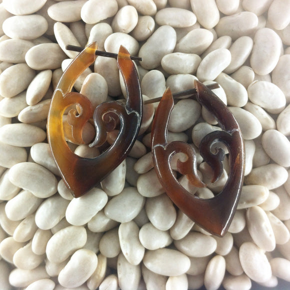 Spiral Horn Earrings | Goddess. Amber Horn Earrings.