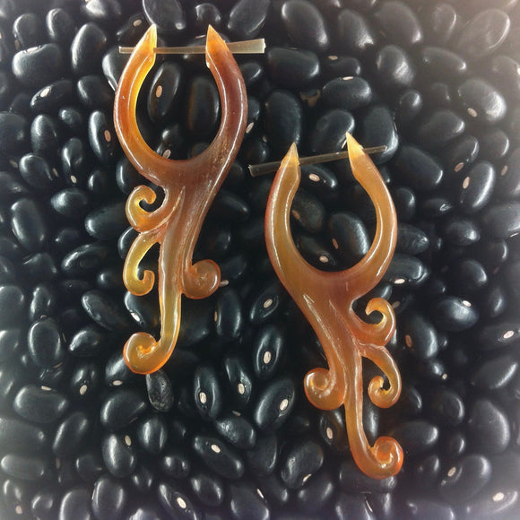 Spiral Horn Earrings | Vine. Amber Horn. Tribal Earrings.