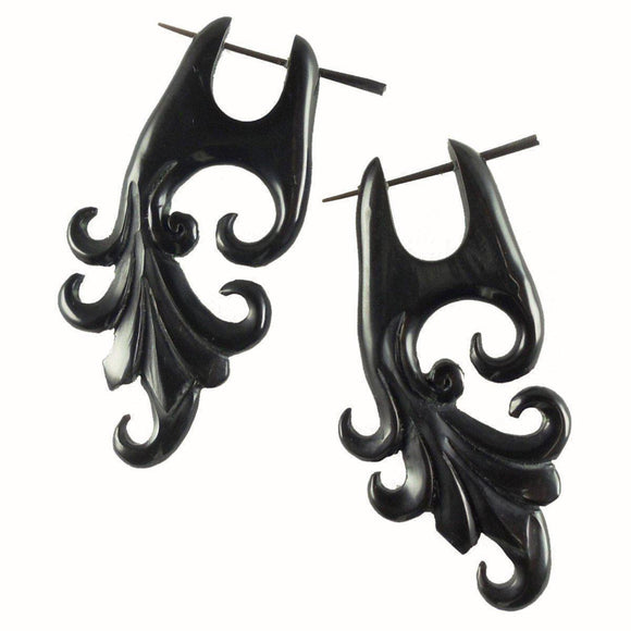 Spiral Horn Earrings | Dragon Vine. Handmade Earrings, Horn Jewelry.
