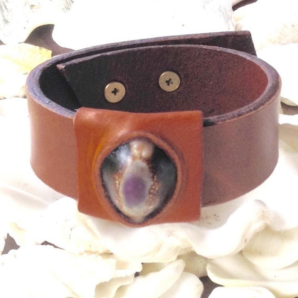 Boho Jewelry | Deep Purple and Chocolate Cowrie and Oiled Buckskin, Reversible Leather Bracelet / Anklet.