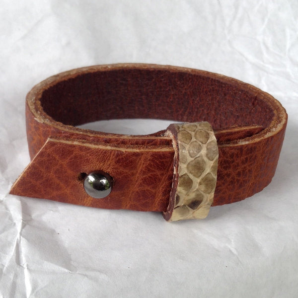 Cuff Jewelry | Belt cuff style Python strap, oiled buckskin lined leather bracelet.