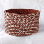 Bohemian Jewelry | Leather Cuff, reptile leather and textured bull leather bangle.