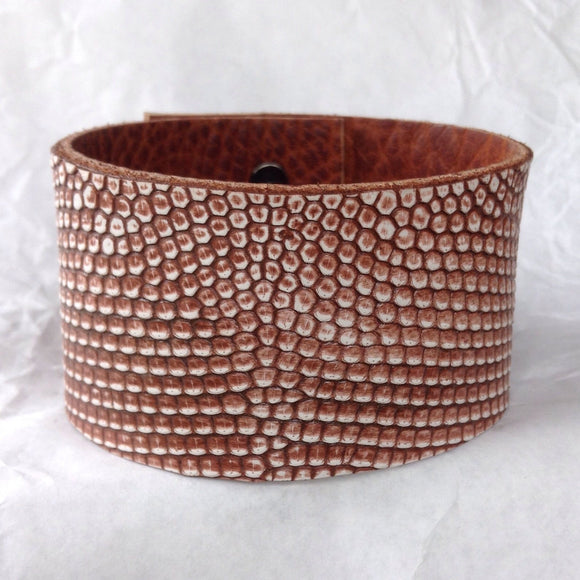 Leather Bracelet | Leather Cuff, reptile leather and textured bull leather bangle.