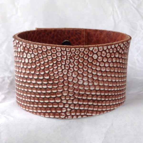 Leather bracelets Jewelry | Leather Cuff, reptile leather and textured bull leather bangle.
