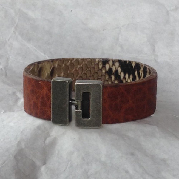 Leather Jewelry | T bar clasp python and textured bull leather cuff bracelet.