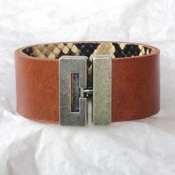 Boho Jewelry | T bar clasp python and caramel leather cuff bracelet.